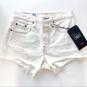 NWT Levi's 501 High Waisted Cut Off Shorts White